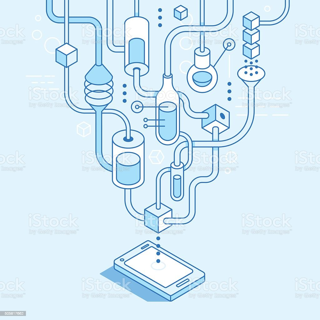 Vector mobile app development concept vector art illustration