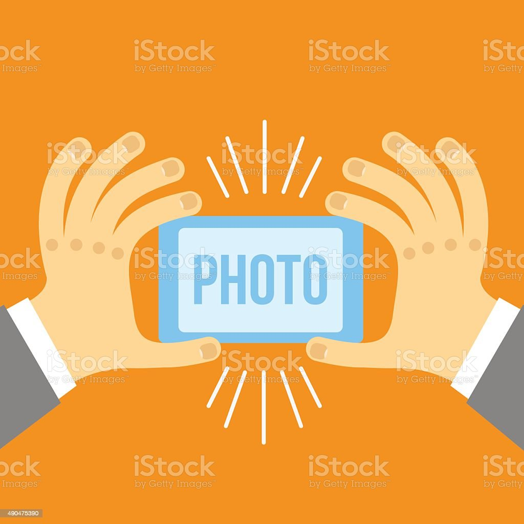 Vector mobile phone and hand in flat style. vector art illustration