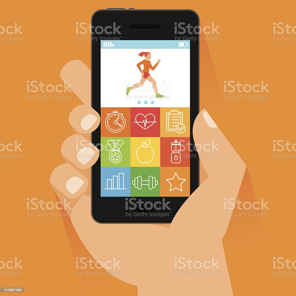 Vector mobile phone and hand in flat style vector art illustration