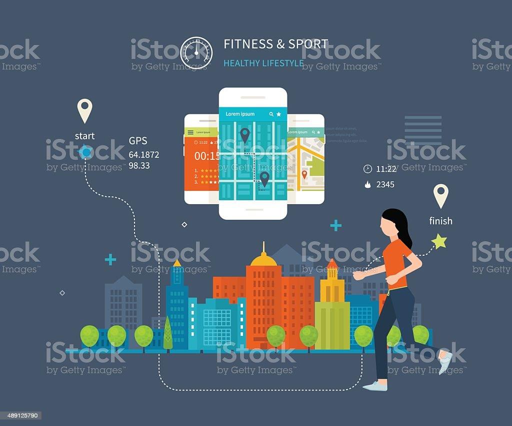 Vector mobile phone - fitness app concept on touchscreen vector art illustration