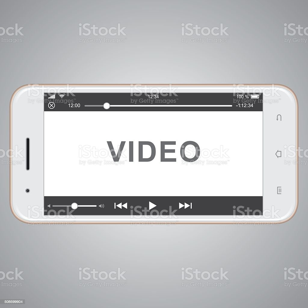 vector mobile phone template for video cover stock photo