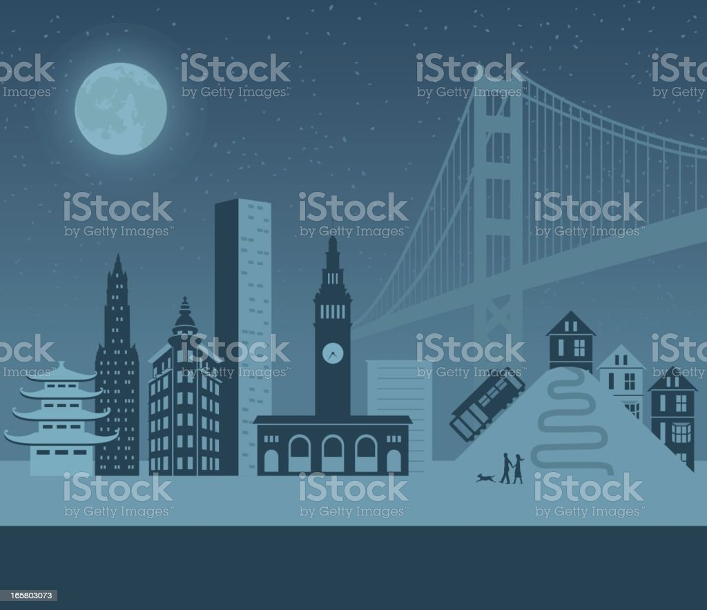 San Francisco Night vector art illustration