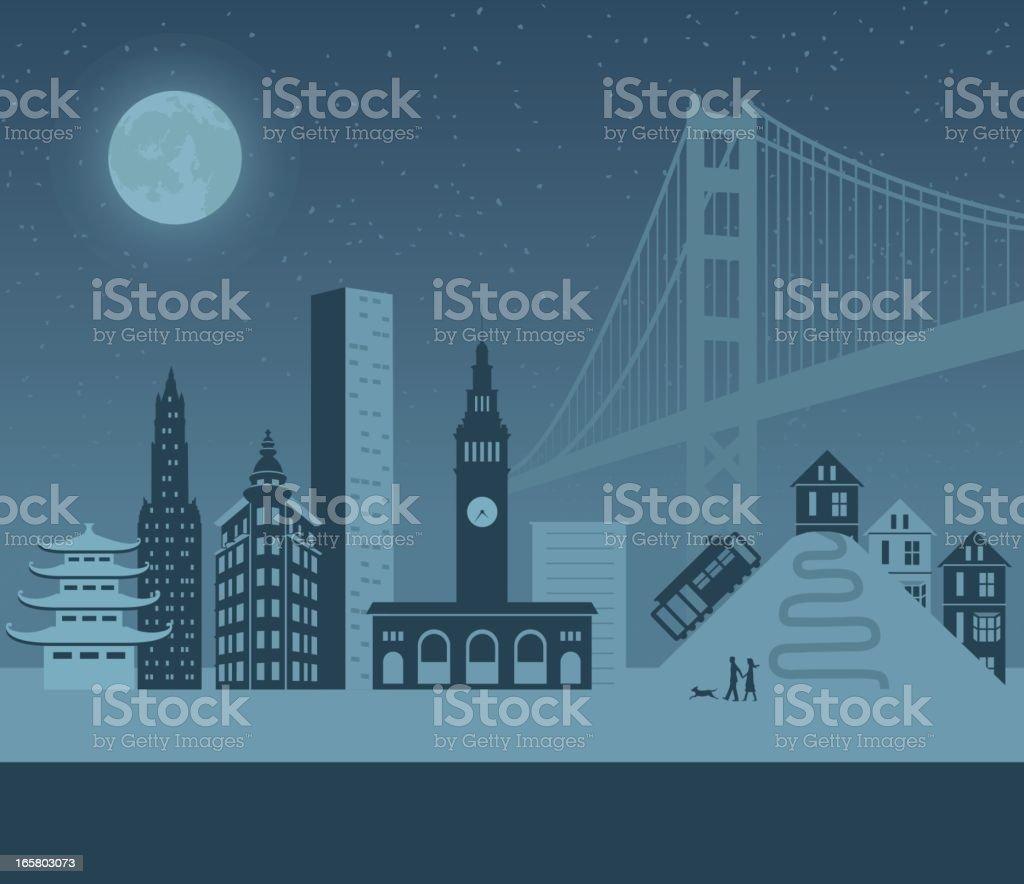 Vector mockup of nighttime in San Francisco vector art illustration