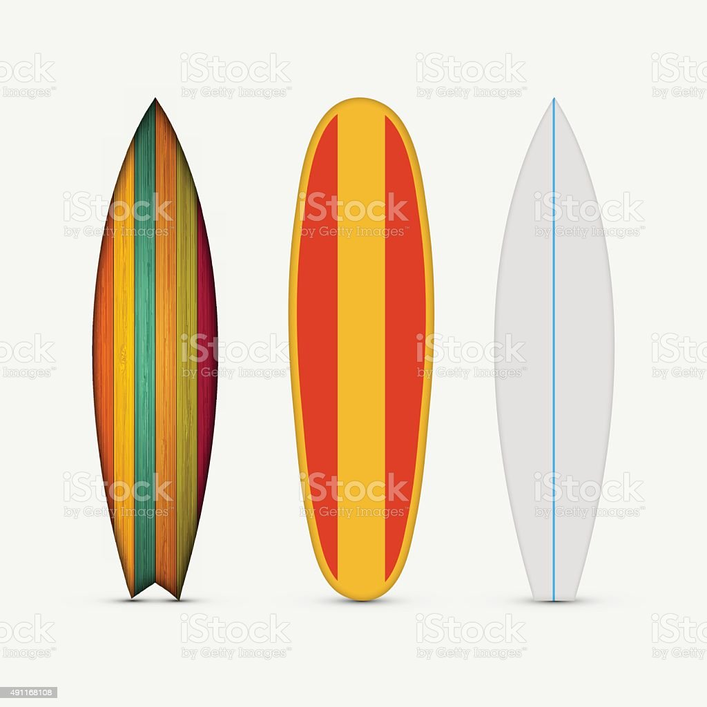 Vector modern colorful surfboard set vector art illustration