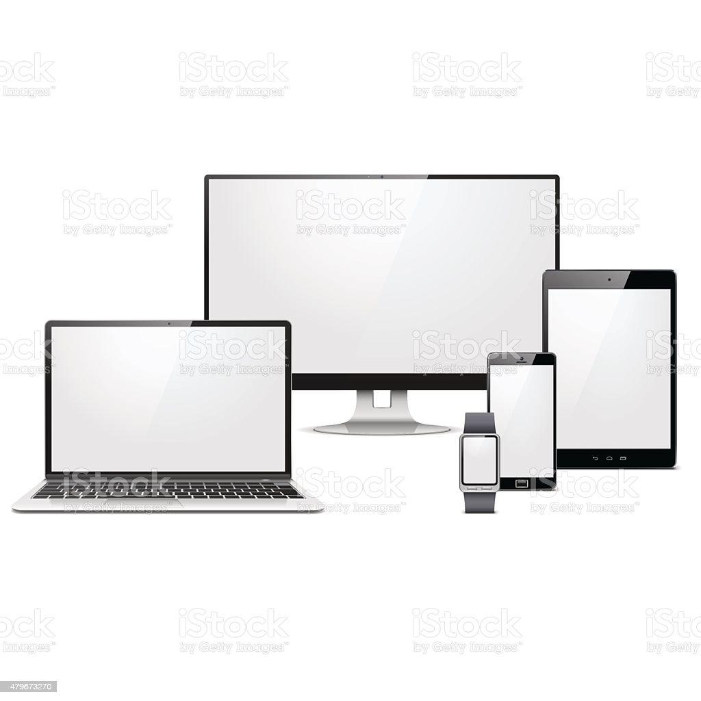 Vector Modern Electronic Devices Set vector art illustration