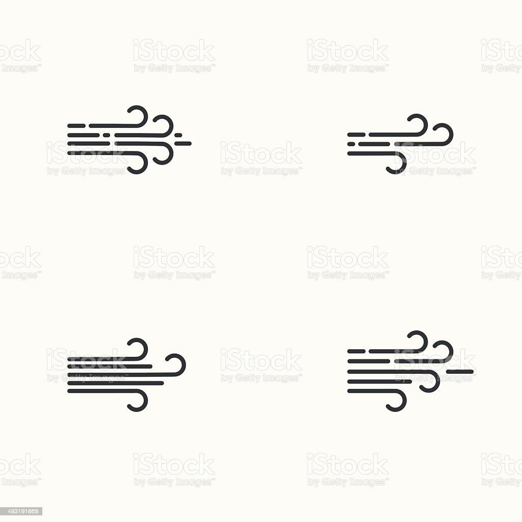 Vector modern flat design of wind icons set vector art illustration