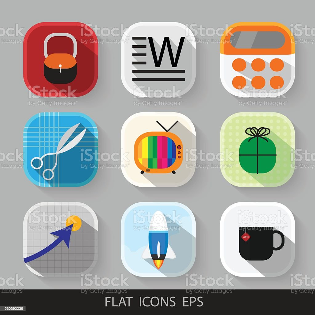 Vector modern flat icons set. Eps 10 vector art illustration