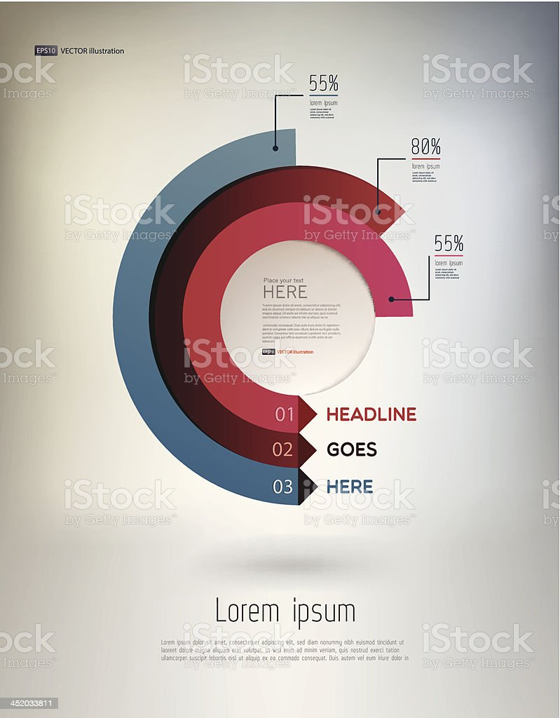 Vector modern infographic elements in semi-circles royalty-free stock vector art