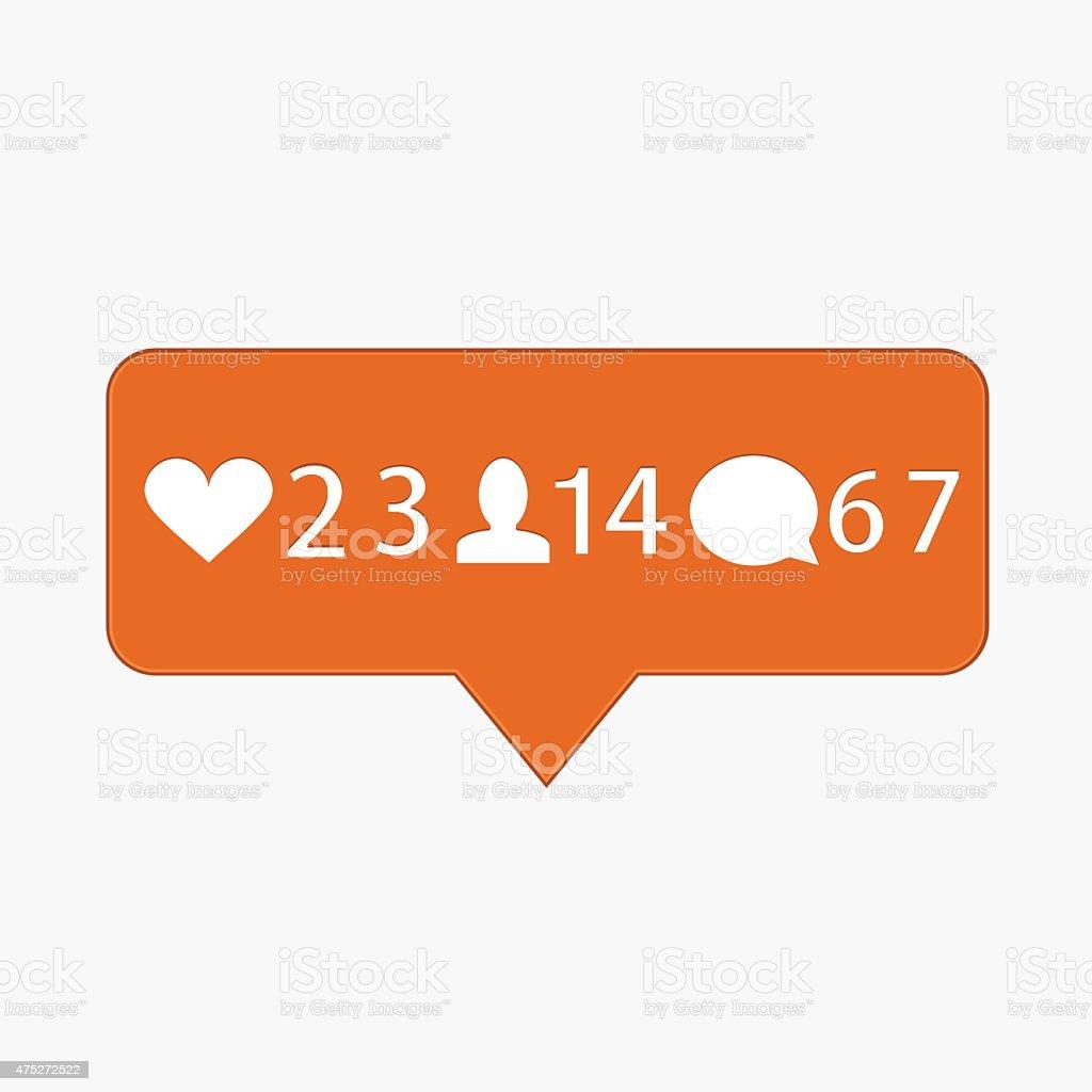 vector modern like, follower, comment icons vector art illustration