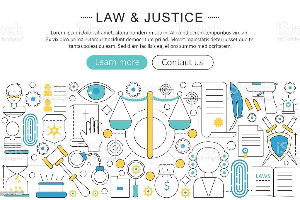 Vector modern line flat design Law and justice concept.    icons vector art illustration