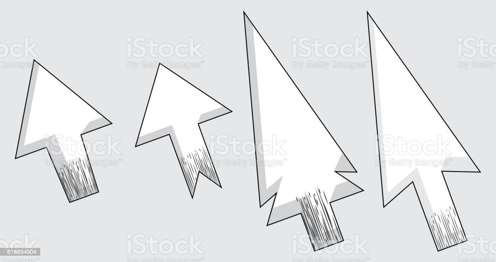 Vector modern set of arrow cursors symbol icons. vector art illustration