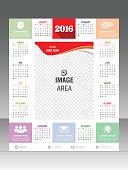 Vector modern wall calendar 2016 Vector illustration