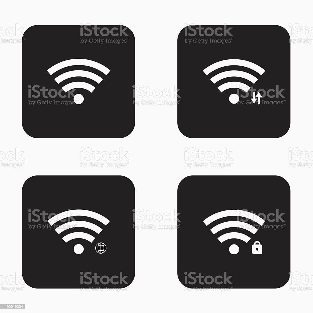 Vector modern wi fi  icons set vector art illustration