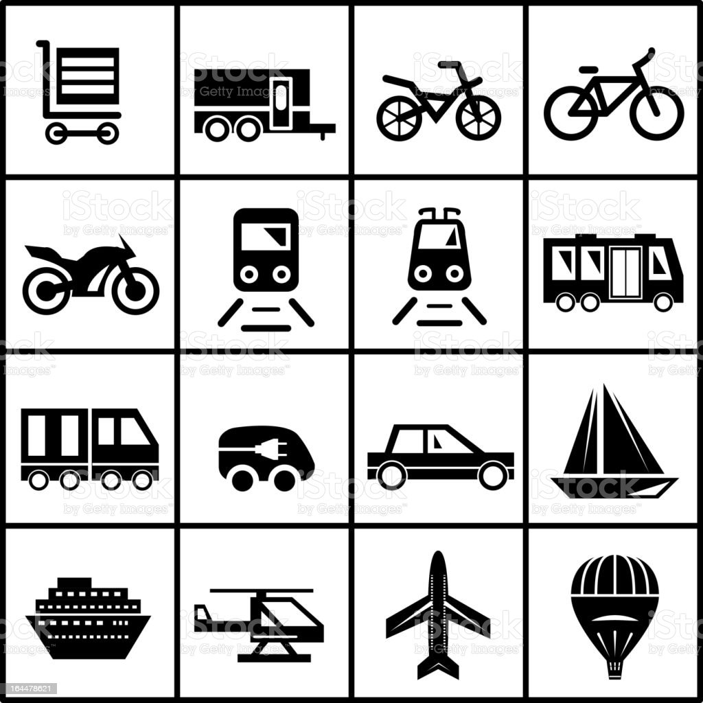 Vector modes of transportation icons royalty-free stock vector art
