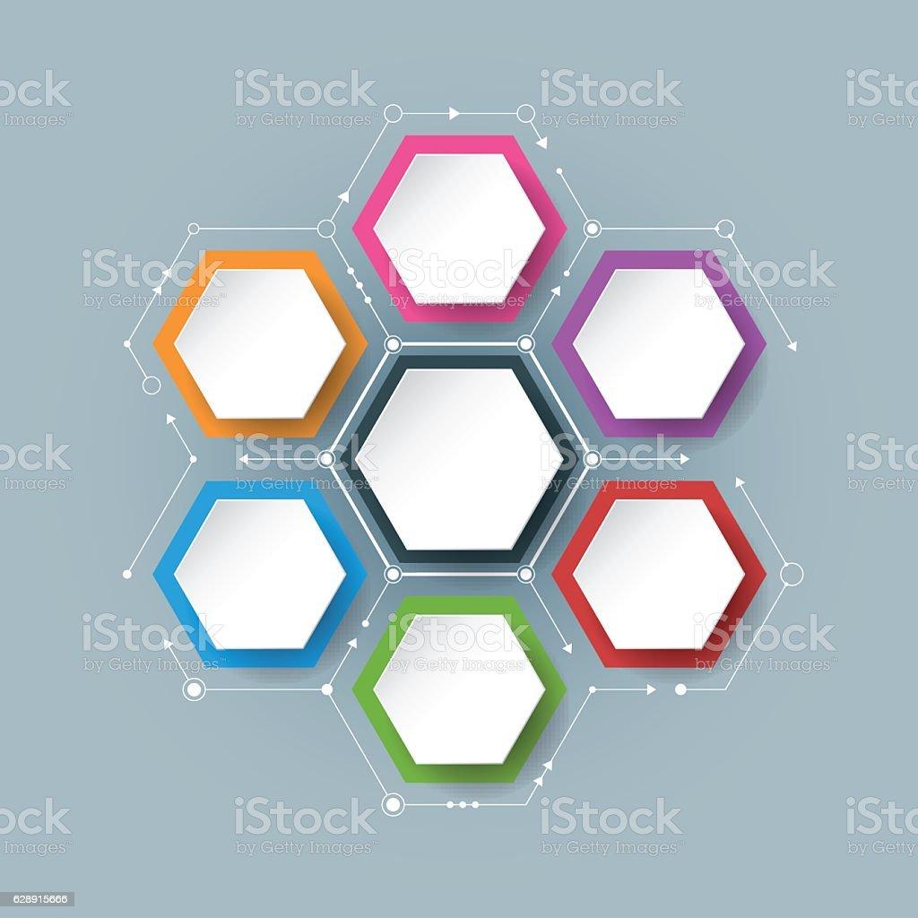 Vector molecule with integrated Hexagon background vector art illustration