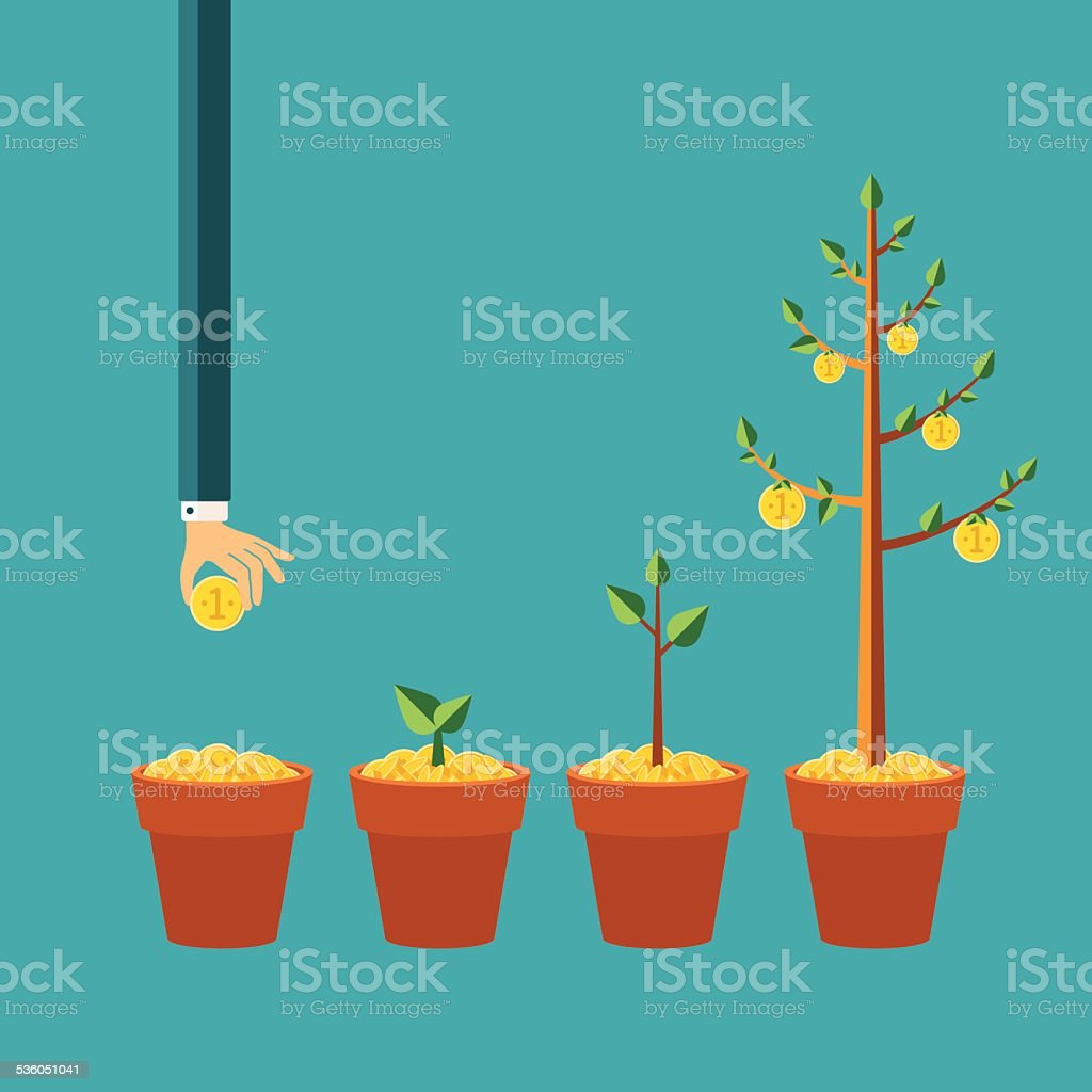 Vector money tree growth concept in flat style vector art illustration