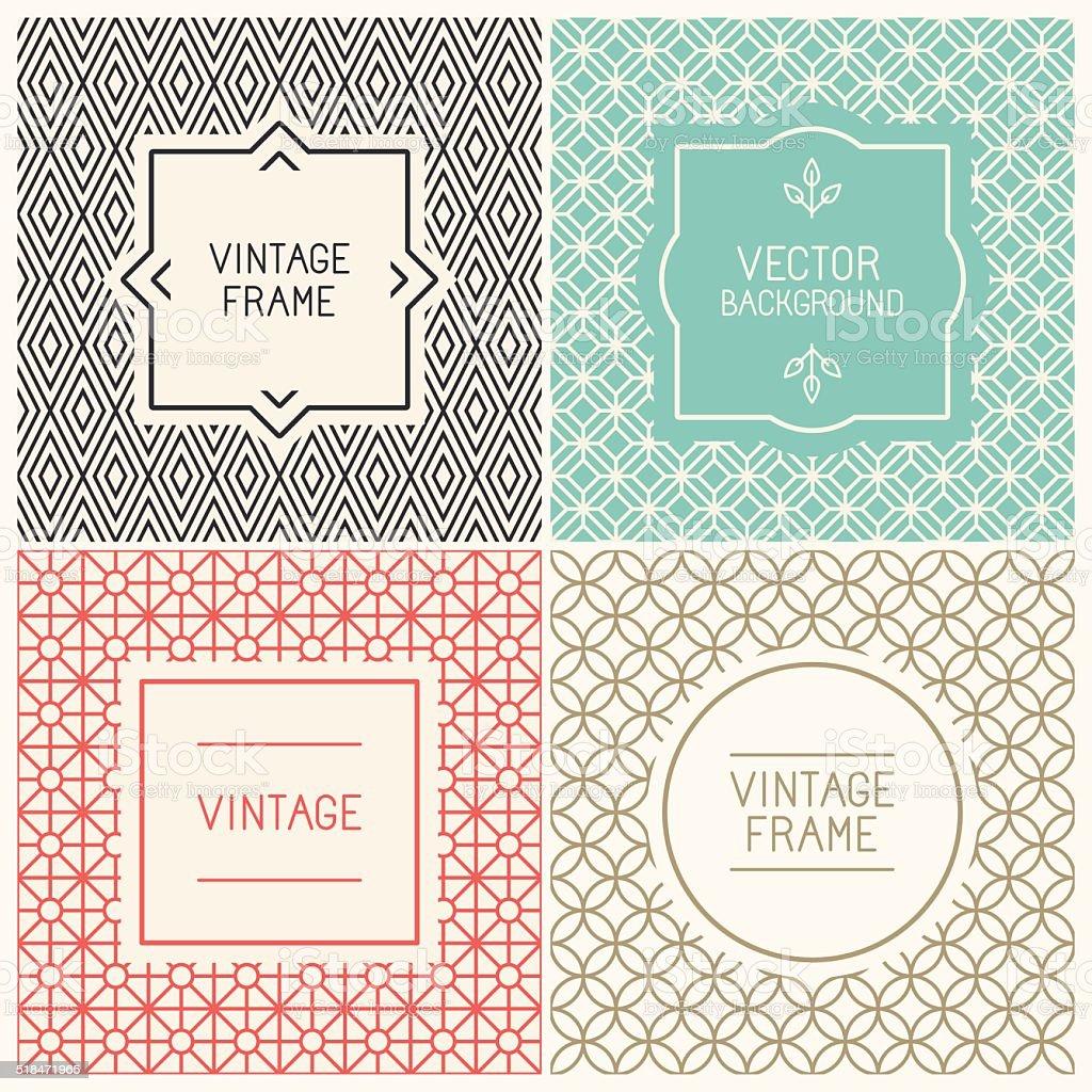 Vector mono line graphic design templates vector art illustration