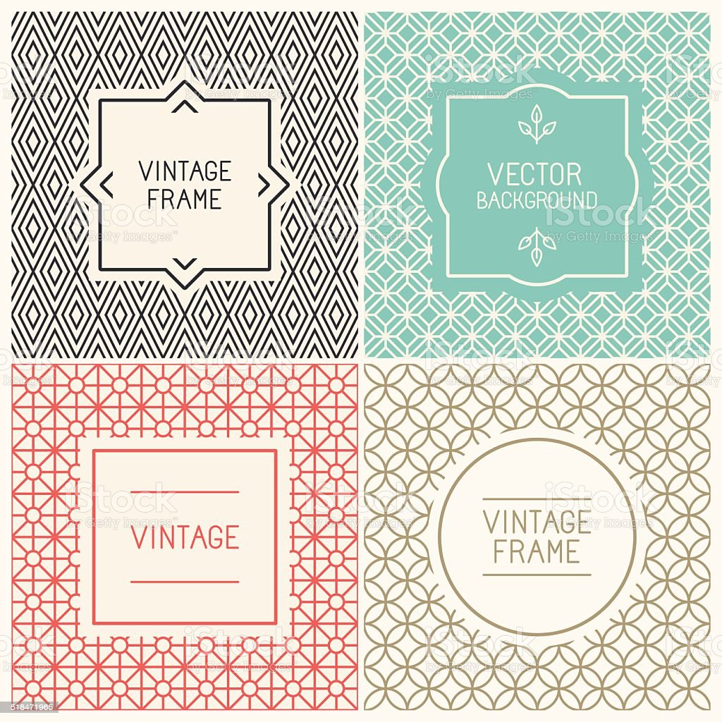 Vector mono line graphic design templates vector art illustration
