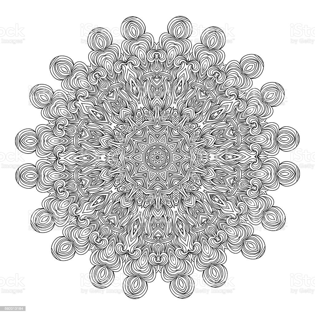 Vector monochrome background for adult coloring book. Lace design mandala. vector art illustration
