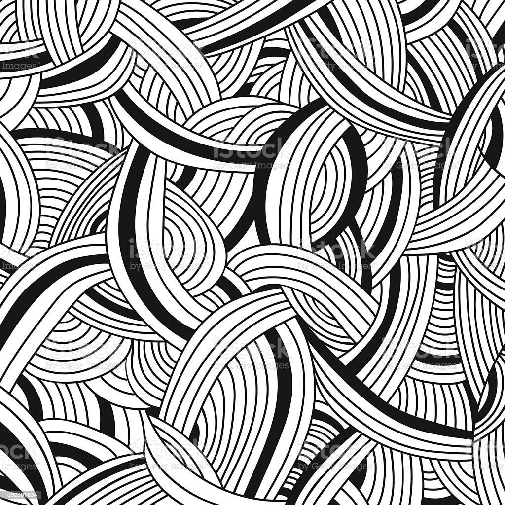 Vector monochrome background. Hand drawn ornament for adult coloring book vector art illustration