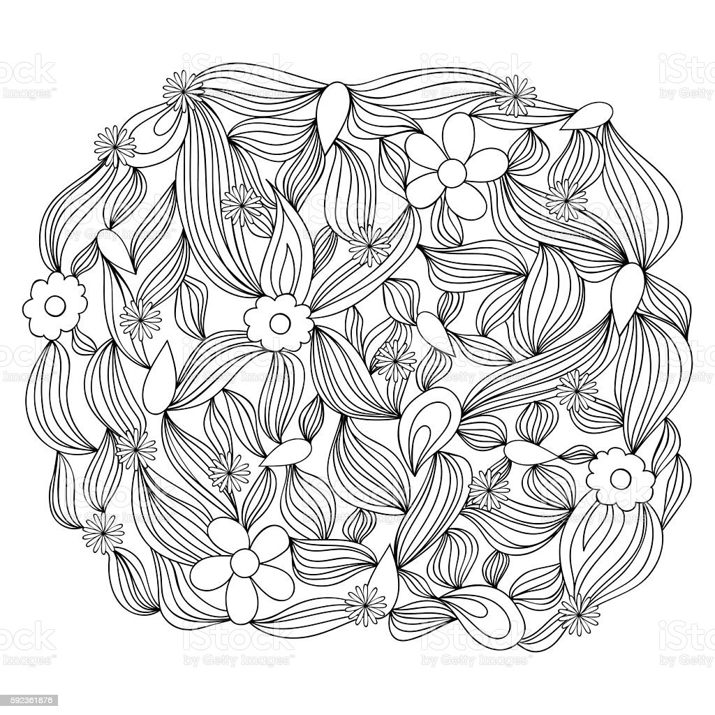 Vector monochrome background. Hand drawn template for adult coloring book vector art illustration