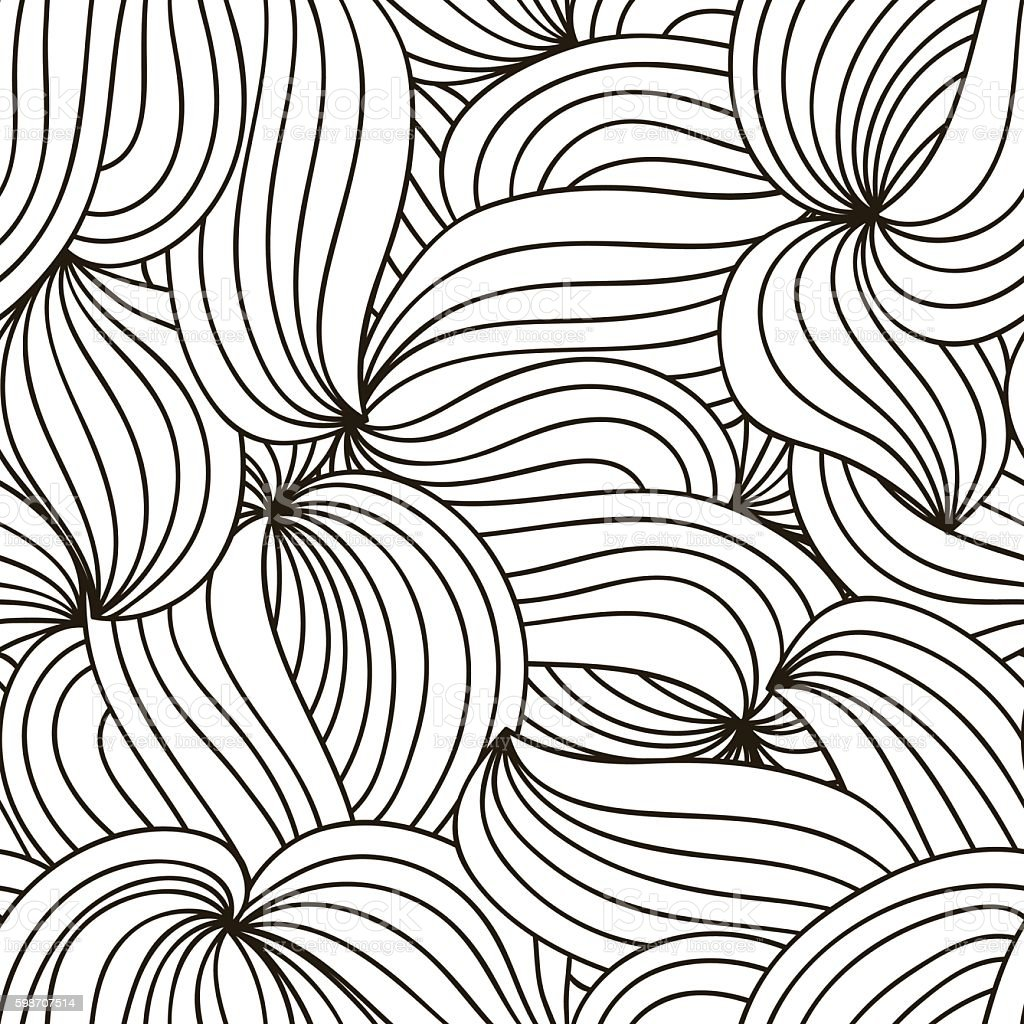 Vector monochrome background. Hand drawn wavy ornament. Template for greeting vector art illustration