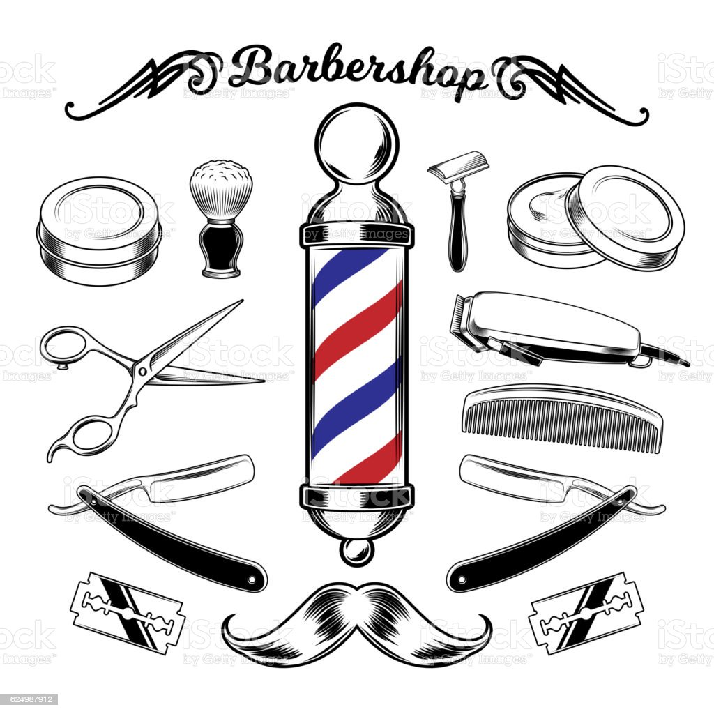 Vector monochrome collection barbershop tools. vector art illustration