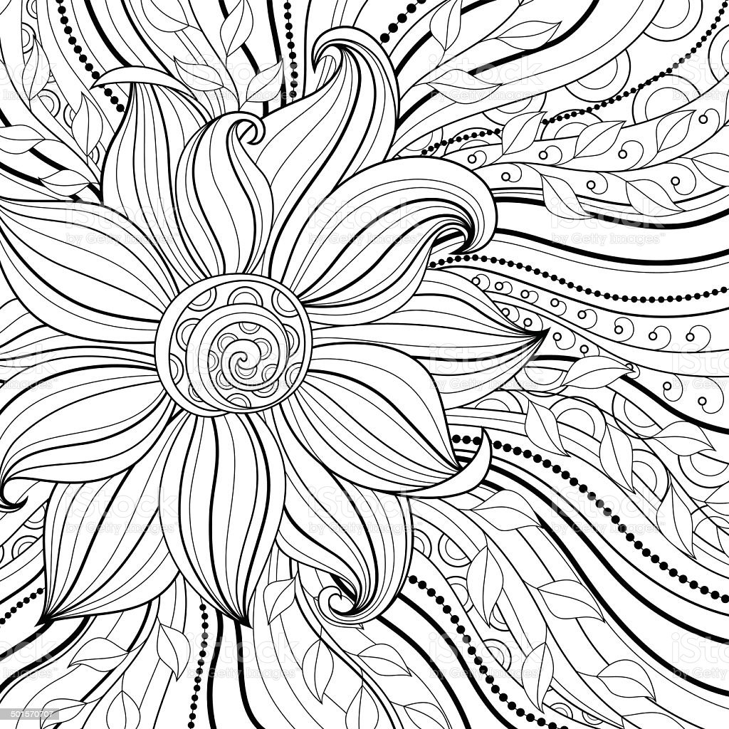 Vector Monochrome Floral Background vector art illustration