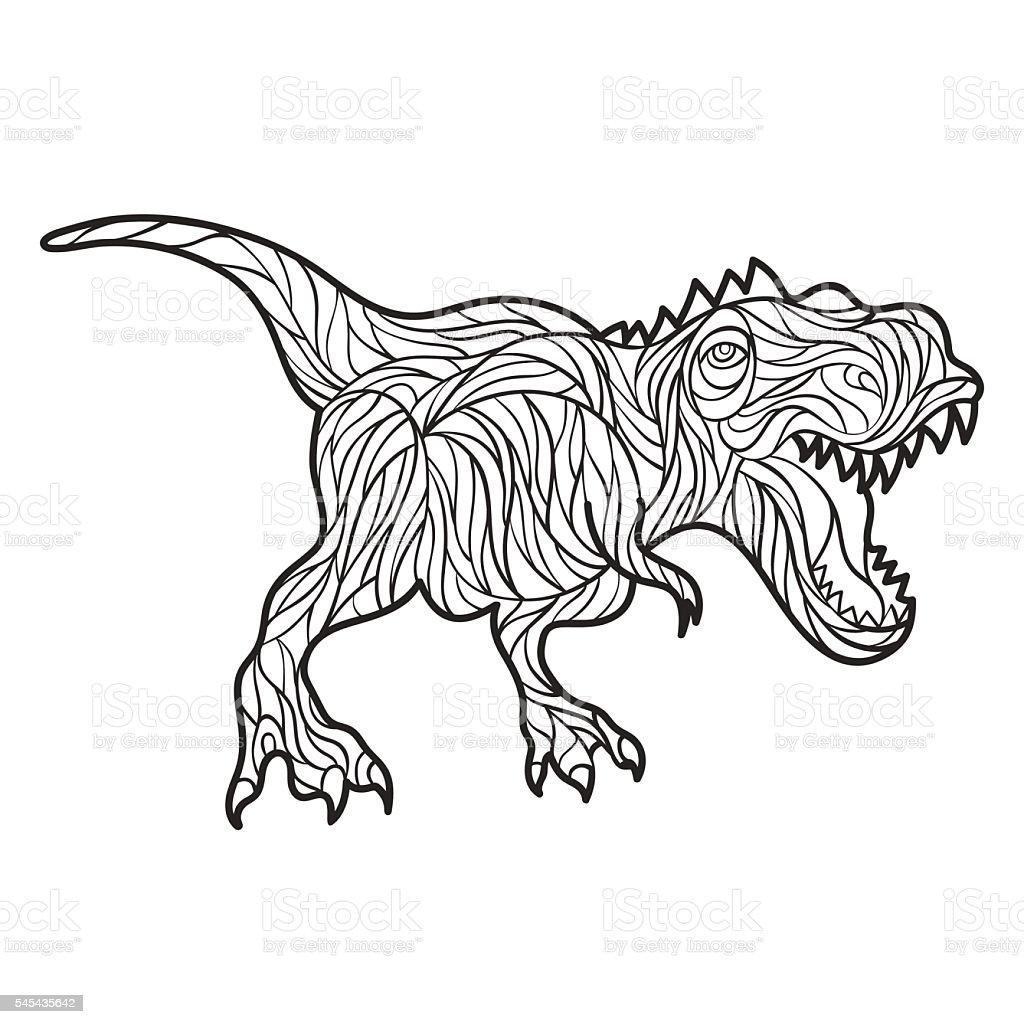 Vector monochrome hand drawn illustration of Tyrannosaurus. vector art illustration
