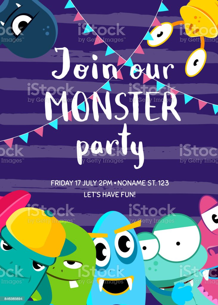 Vector monster party invitation poster with crowd of cute monsters and garlands on stripes background vector art illustration