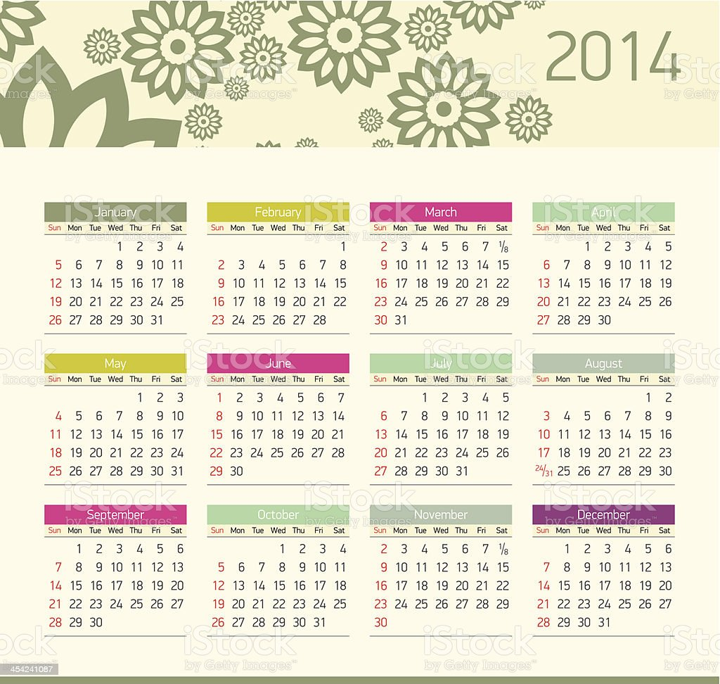 Vector monthly calendar for 2014 royalty-free stock vector art