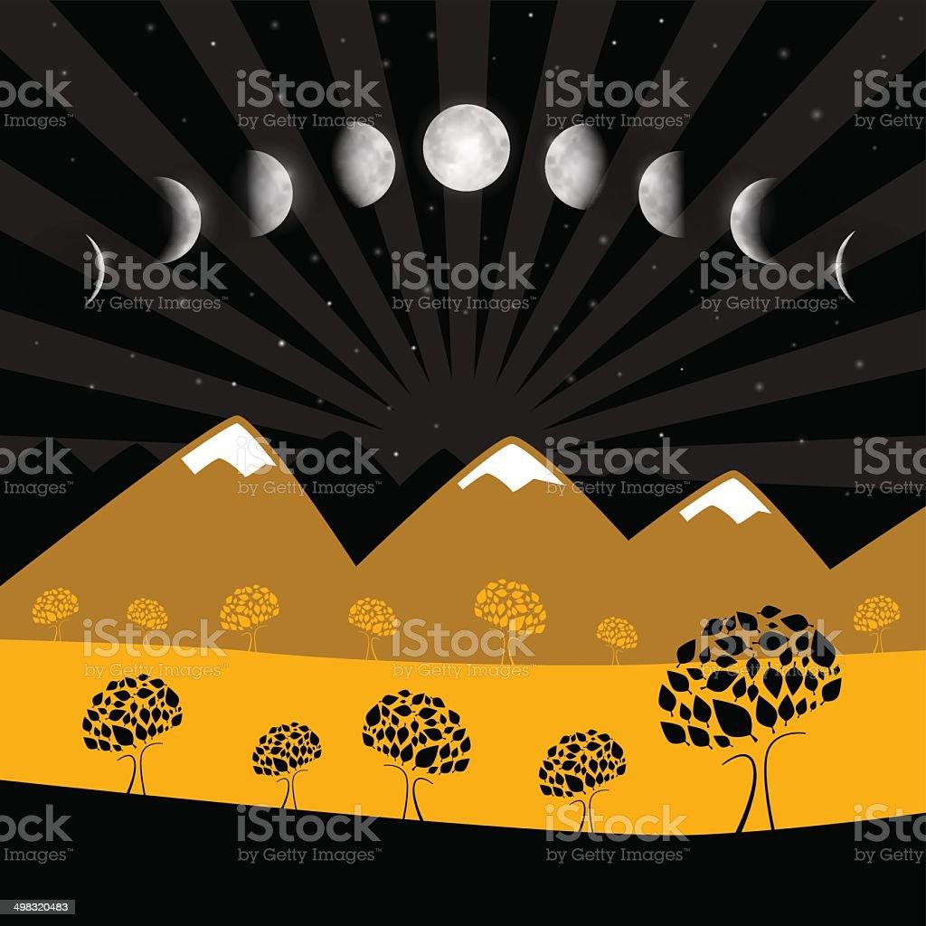 Vector Moon Phases Illustration royalty-free stock vector art