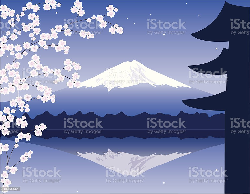 vector Mount Fuji, branches of sakura and pagoda royalty-free stock vector art