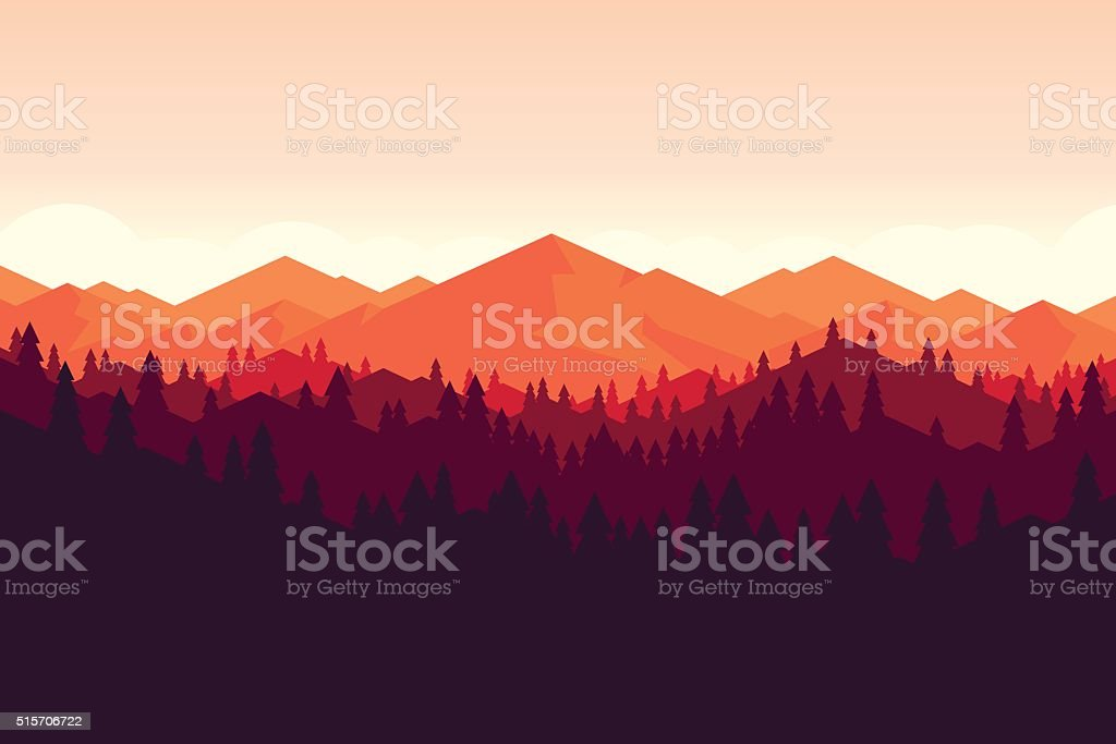 Vector mountain and forrest landscape on the sunset. vector art illustration