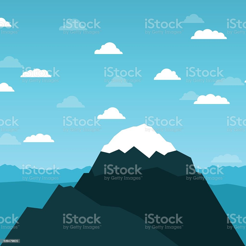 Vector mountain and sky with couds flat illustration vector art illustration