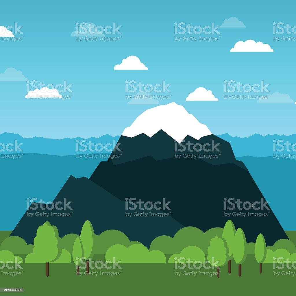 Vector mountain flat illustration. Alps - Zugspitze in Bavaria, Germany vector art illustration