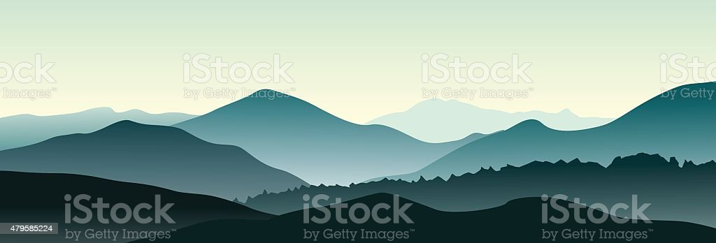 Vector mountain landscape in the summer evening. vector art illustration