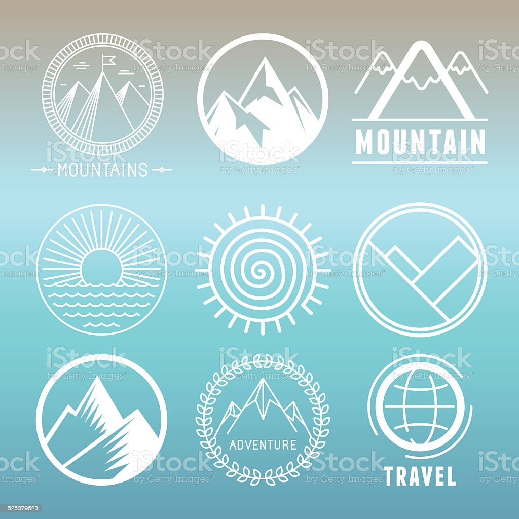 Vector mountain logos and emblems vector art illustration