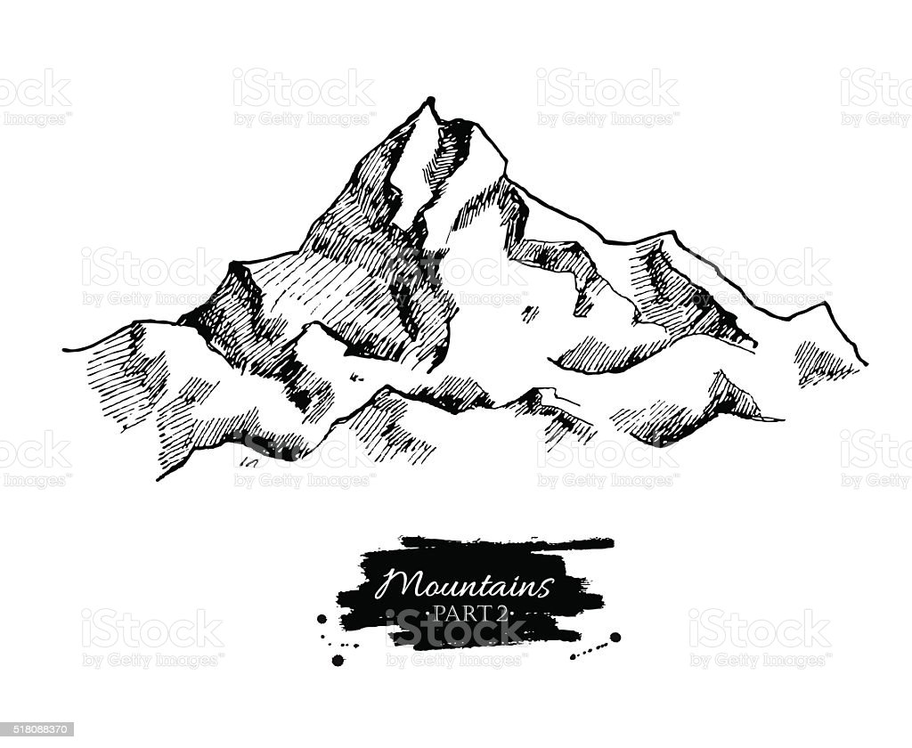 Vector mountains drawing. Hand drawn mountains illustrations. vector art illustration