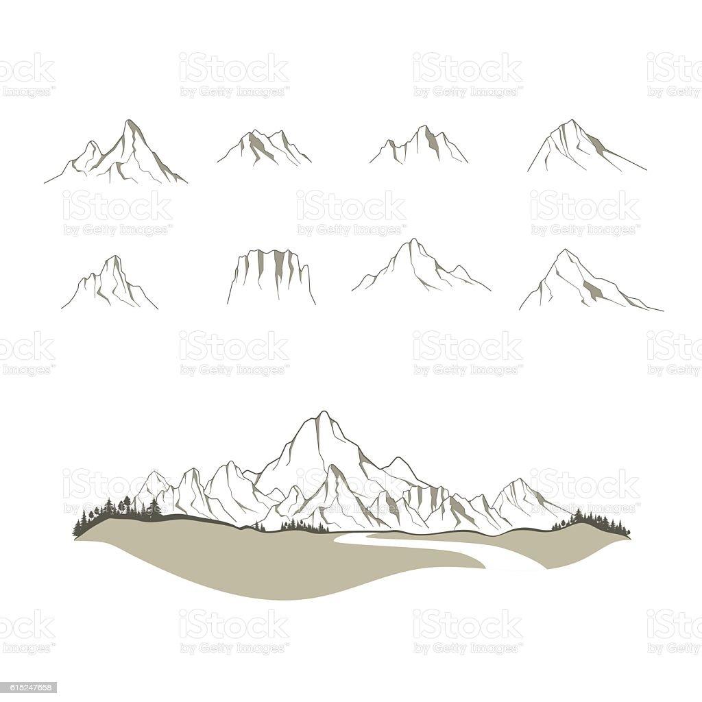 Vector mountains vector art illustration