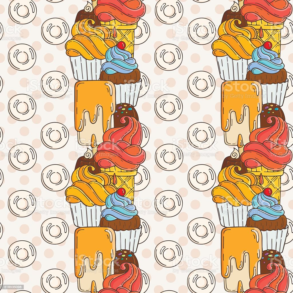Vector Muffins Seamless Pattern. Cakes, Sweets vector art illustration