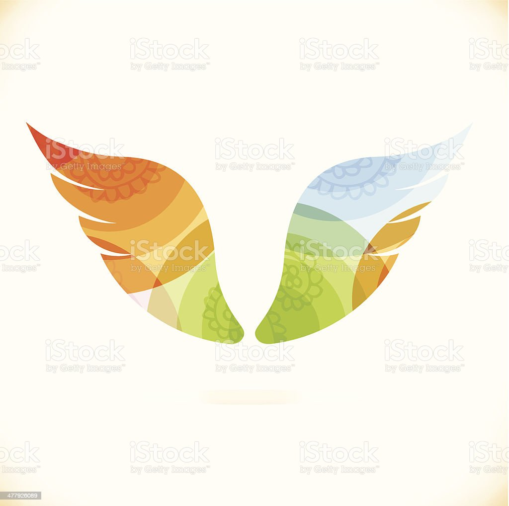 Vector multicolor isolated wings vector art illustration