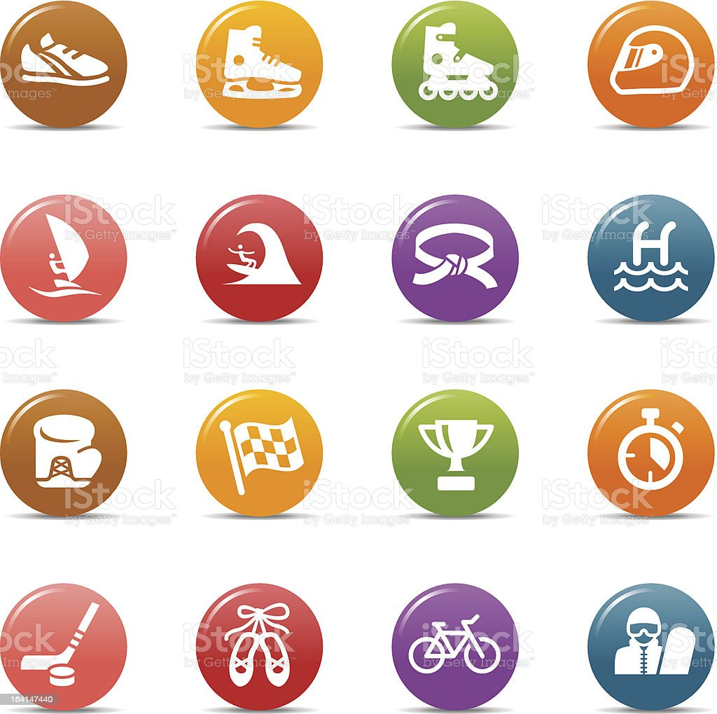Vector multicolored icons related to sports royalty-free stock vector art