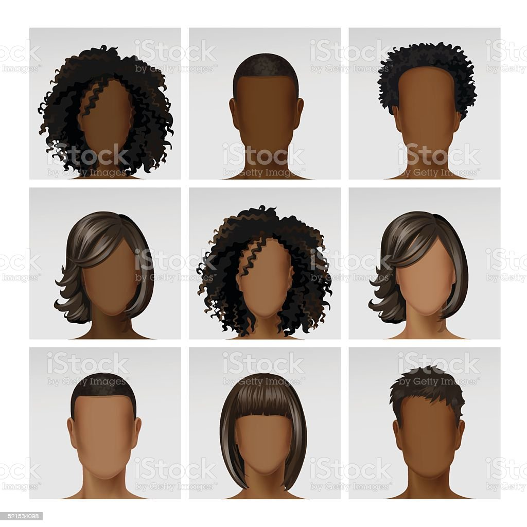 Vector Multinational Male Female Face Avatar Profile Heads with Hairs vector art illustration