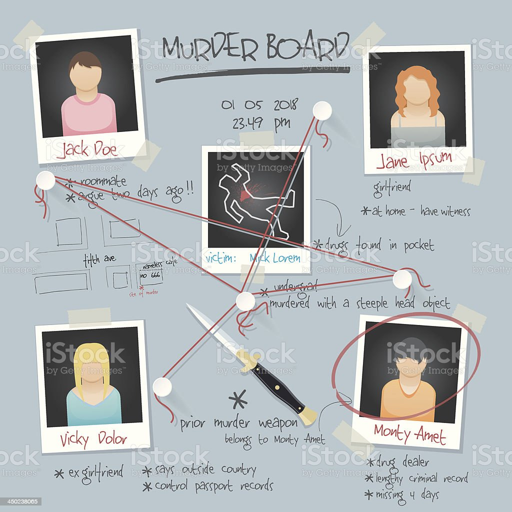 vector murder board background vector art illustration