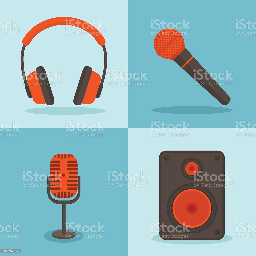Vector music concepts in flat style. vector art illustration