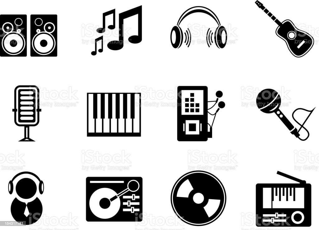 Vector music icons vector art illustration
