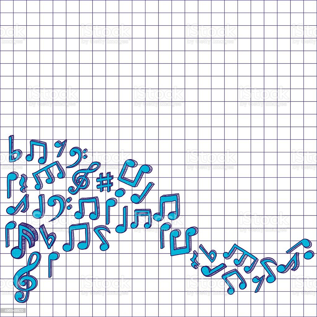Vector music notes. Doodle style graphic vector art illustration