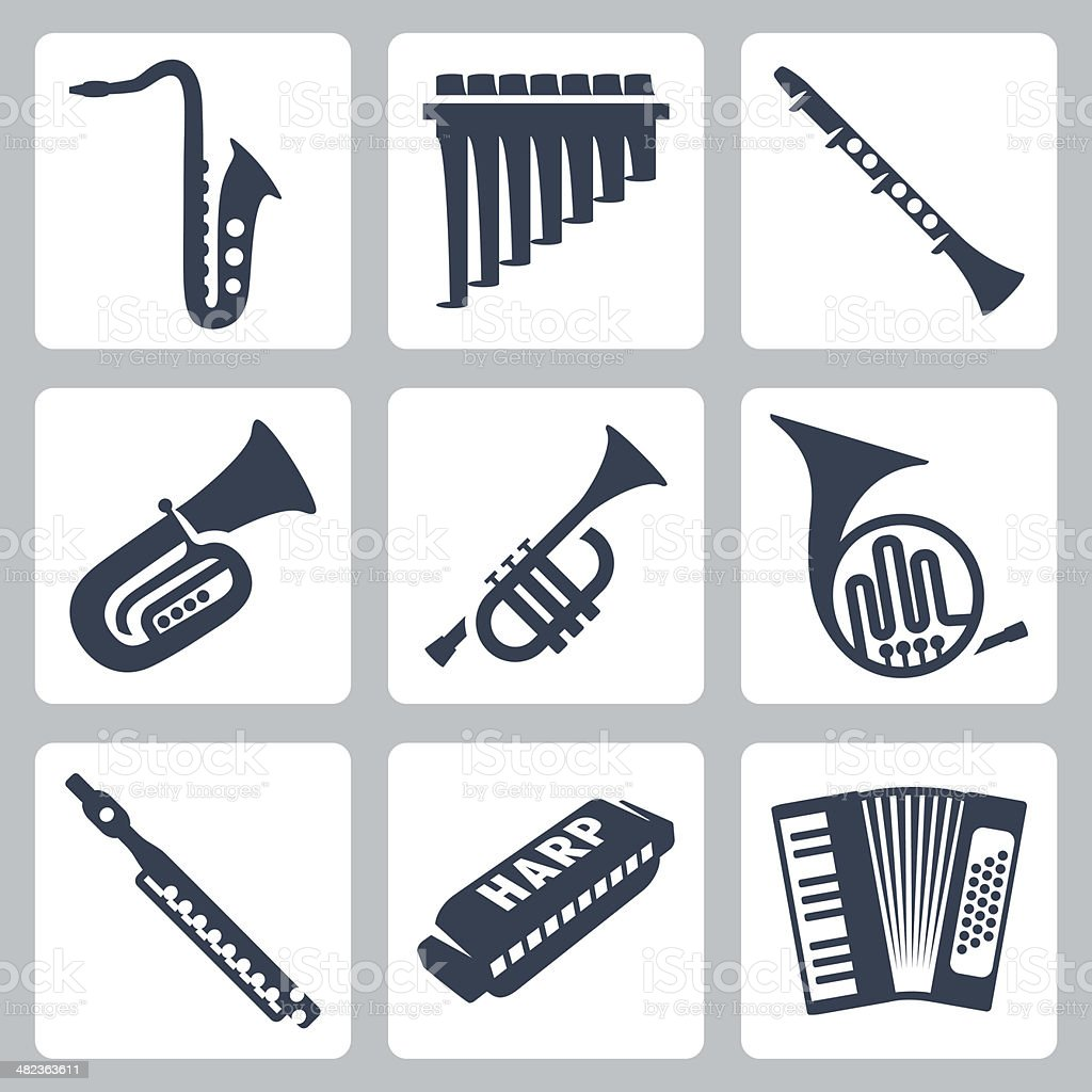 Vector musical instruments: pipes, harmonica and accordion vector art illustration