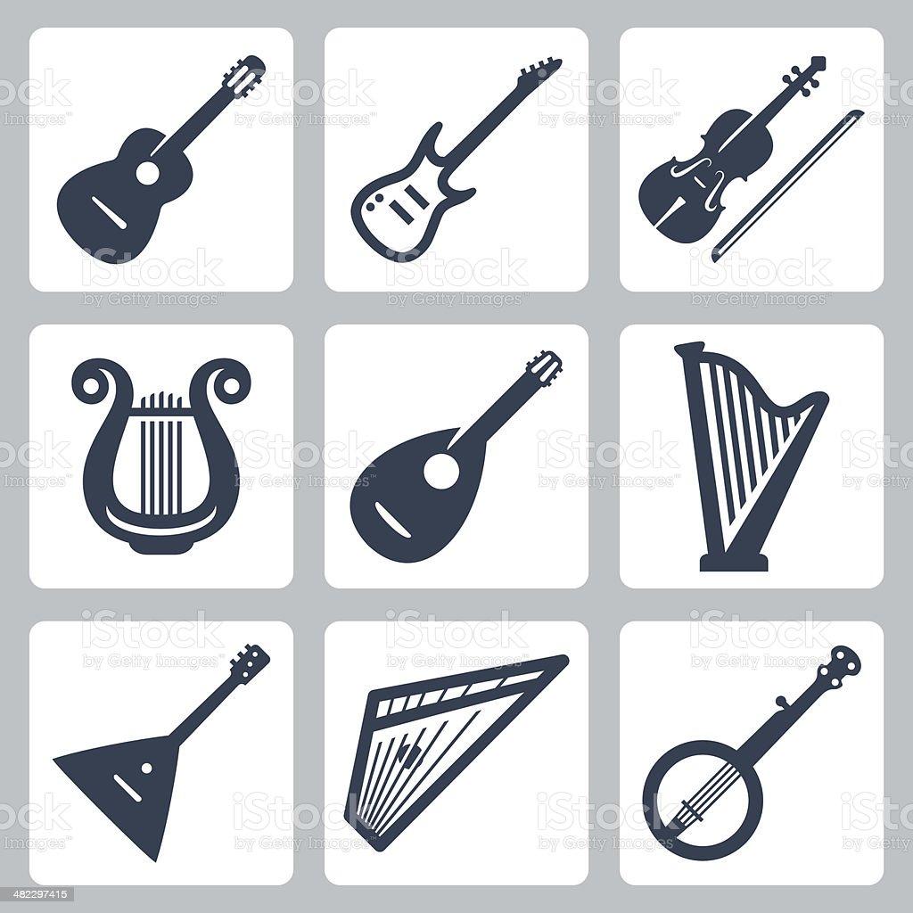 Vector musical instruments: strings vector art illustration